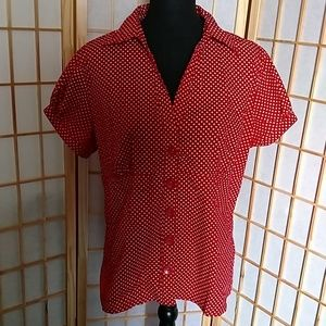 Antilia Femme Red and White Blouse Size 2X